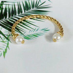 Semi-Opening Adjustable Pearl Twist Bracelet